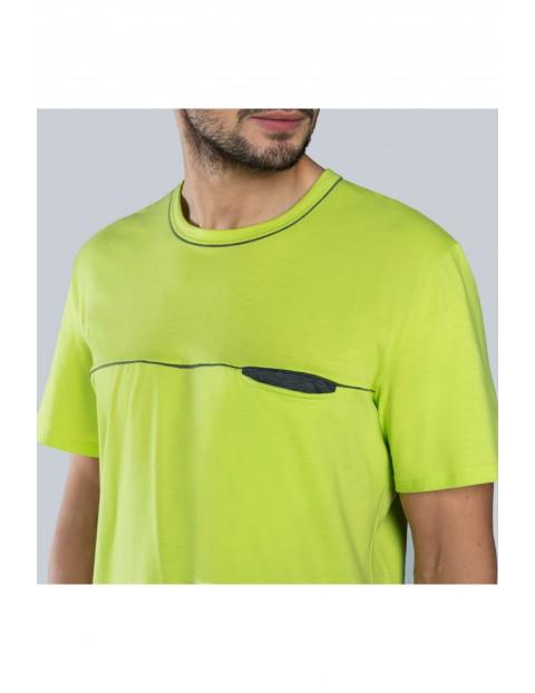 Dwuczęściowa piżama męska - limonkowy t-shirt na krótki rękaw + szare spodenki