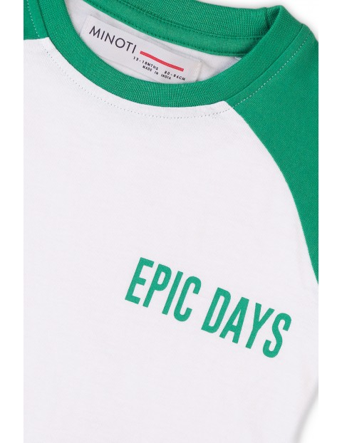 Bawełniany T-shirt niemowlęcy z napisem- Epic days