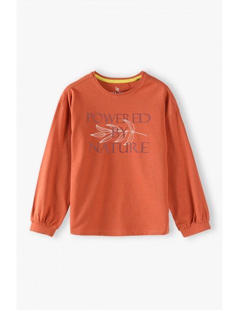 Pomarańczowa bluzka dziewczęca z napisem
