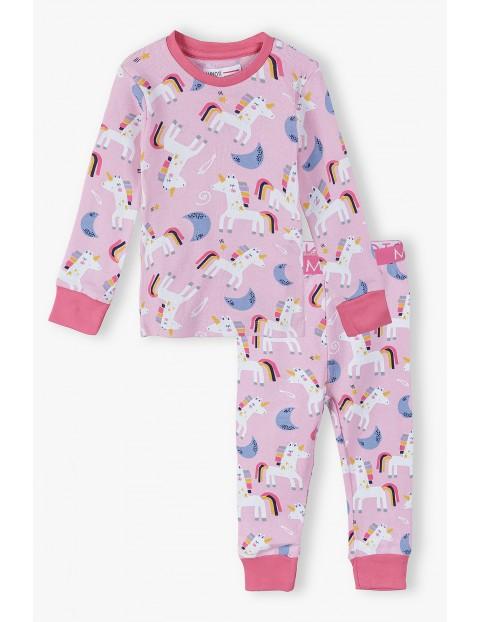 piżama niemowlęce- różowa w jednorożce
