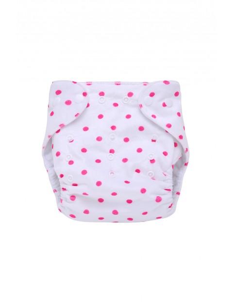 Pieluszka wielorazowa z kieszonką w różowe kropki - biała