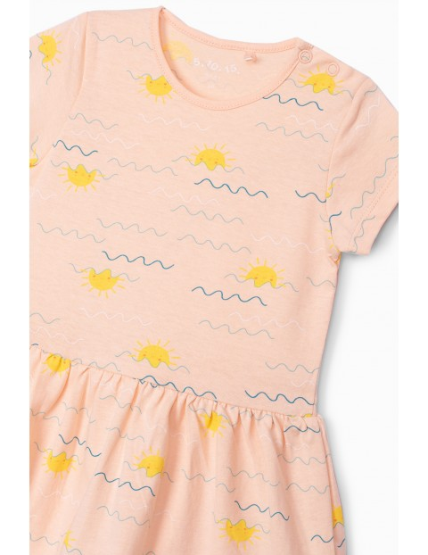 Sukienka niemowlęca bawełniana- różowa