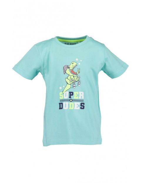 Koszulka chłopięca niebieska z dinozaurem