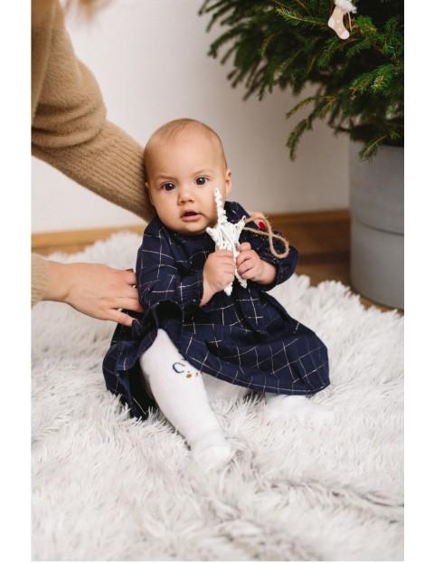 Elegancka sukienka dla niemowlaka- granatowa w kratkę