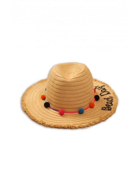 Słomkowy kapelusz dziewczęcy z pomponami