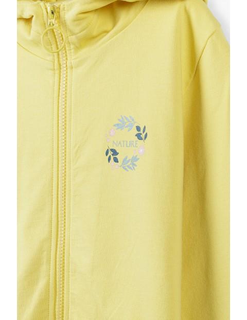 Żółta bluza dziewczęca z kapturem i kieszeniami