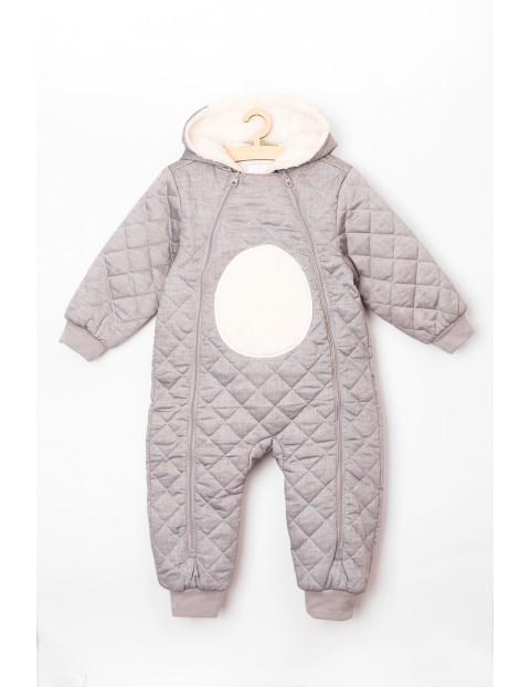 Kombinezon niemowlęcy szary pikowany- Miś