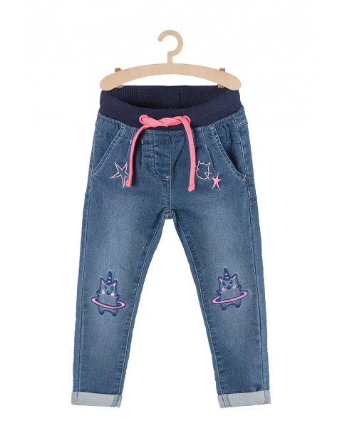 Spodnie dziewczęce z kotorożcami na kolanach