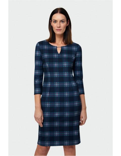 Granatowa sukienka w kratę