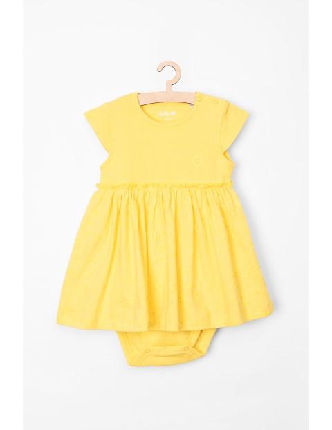 Body- sukienka żółte z falbanką