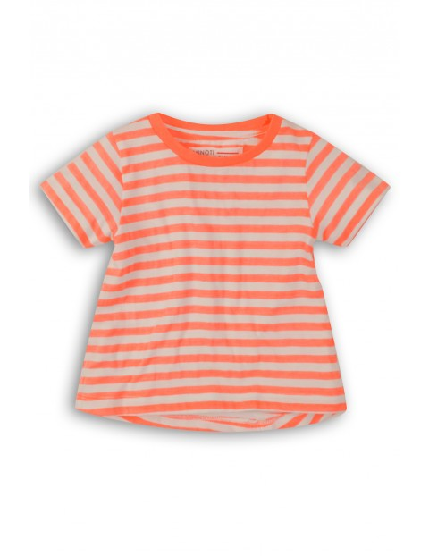 T-shirt dziewczęcy w biało-pomarańczowe paski