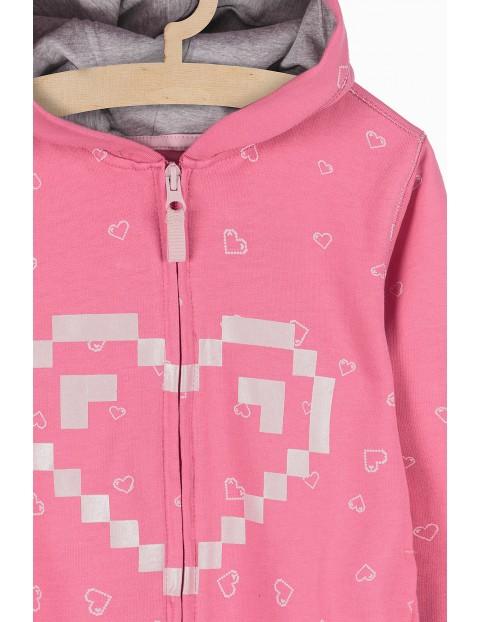Bluza dresowa z kapturem- różowa w serduszka