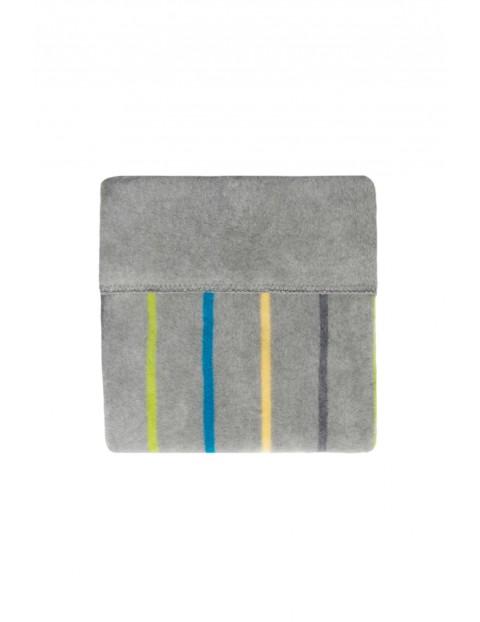 Koc bawełniany 100 x 150 cm paski szare z niebieskim