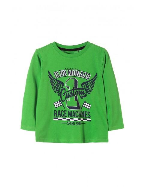 Bluzka chłopięca zielona z moto nadrukami