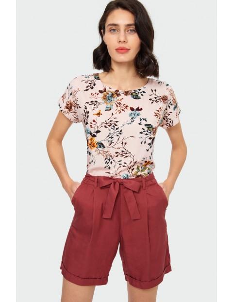Wiskozowa beżowa bluzka w kwiaty