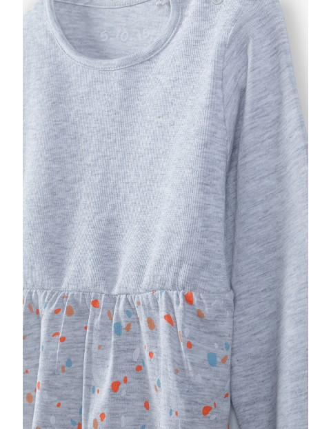 Bluzka dziewczęca we wzorki - szara z długim rękawem