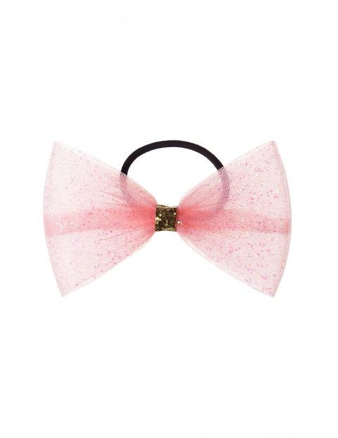 Gumka do włosów- różowa tiulowa kokardka z brokatem
