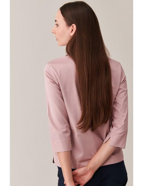 Bluzka damska różowa z kołnierzykiem