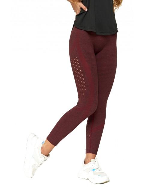 Sportowe legginsy damskie bezszwowe bordowe