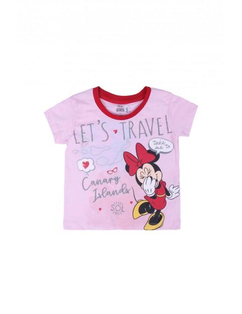 T-shirt dziecięcy z nadrukiem Minnie- różowy