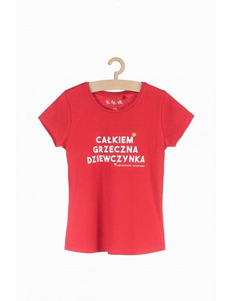 T-shirt dziewczęcy z napisem- Całkiem grzeczna dziewczynka