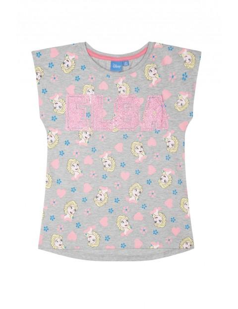 Koszulka dziewczęca Kraina Lodu-brokatowy napis Elsa