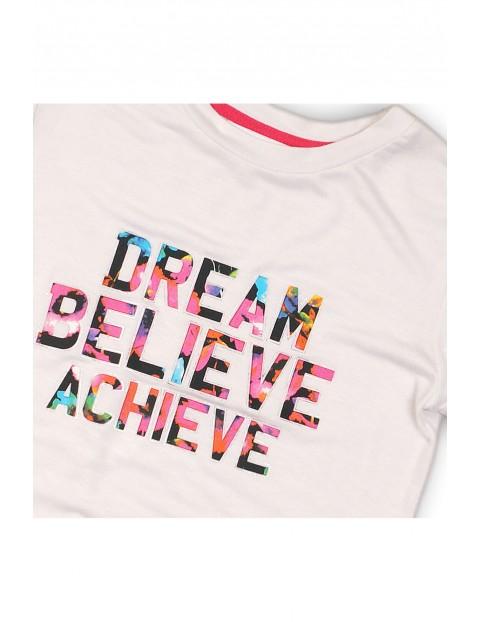 T-shirt dziewczęcy z kolorowym napisem
