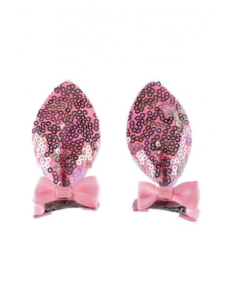 Spinki do włosów- różowe cekinowe uszy 2szt