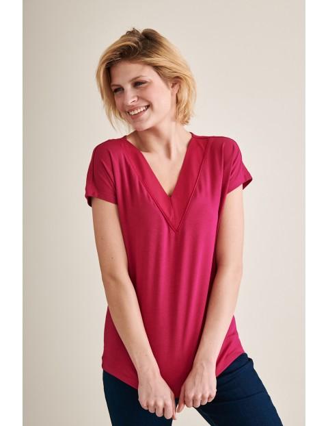 Ciemnoróżowa bluzka z krótkim rękawem z dekoltem w serek