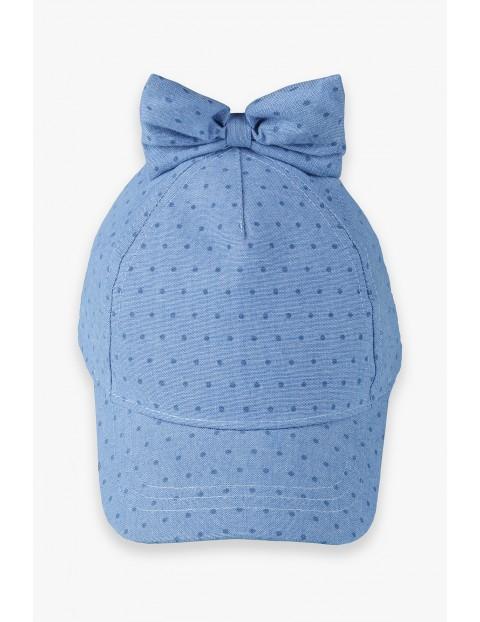 Czapka z daszkiem dziewczęca z kokardką -niebieska