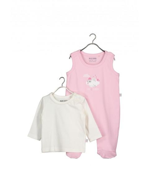 Śpiochy i kaftanik- komplet ubrań niemowlęcych