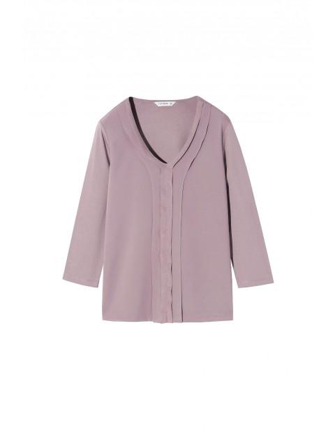 Bluzka z ozdobnym dekoltem fioletowa