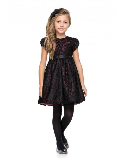 Elegancka sukienka dziewczęca czarna w kwiaty