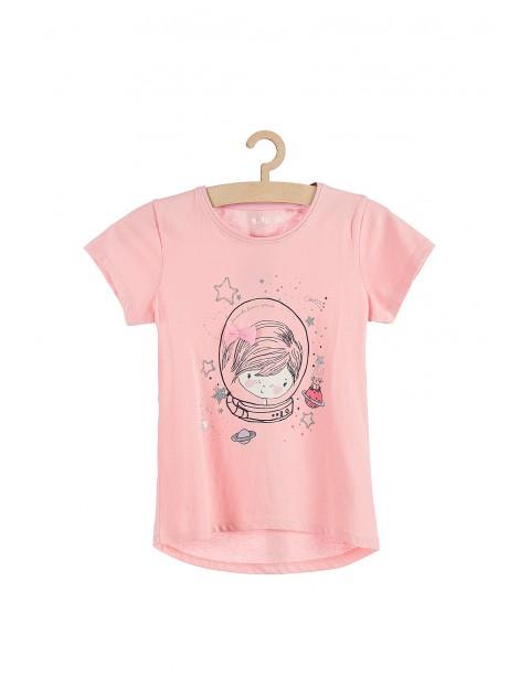 T-shirt dziewczęcy różowy z tiulowa kokardką