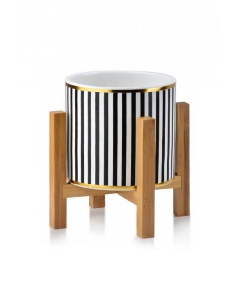 AVA Doniczka w czarno-białe paski na drewnianym stojaku