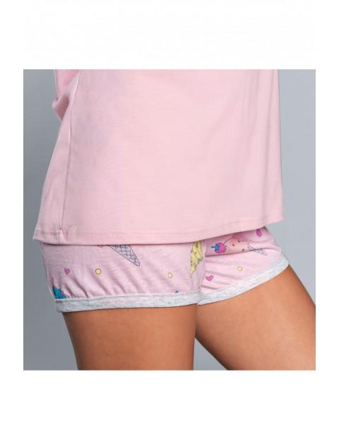 Różowa dwuczęściowa piżama damska we wzorki - t-shirt na krótki rękaw + krótkie spodenki