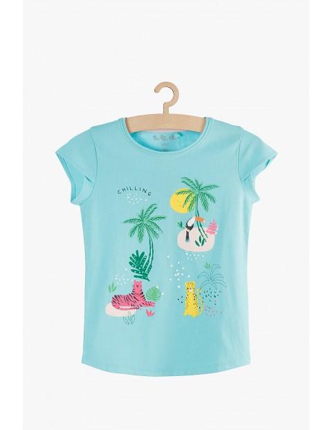 Niebieski t-shirt dla dziewczynki Safiari