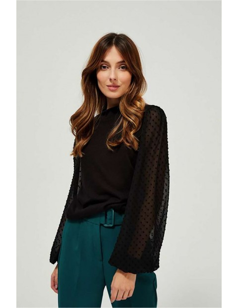 Elegancki sweter z bufiastymi przezroczystymi rękawami - czarny