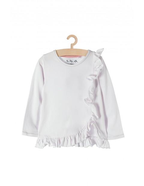 Bluzka dziewczęca z ozdobną falbanką - biała