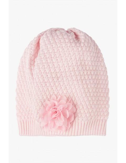 Czapka dla dziewczynki-różowa przejściowa