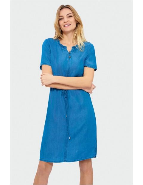 Niebieska sukienka z Lyocelu  z krótkim rękawem