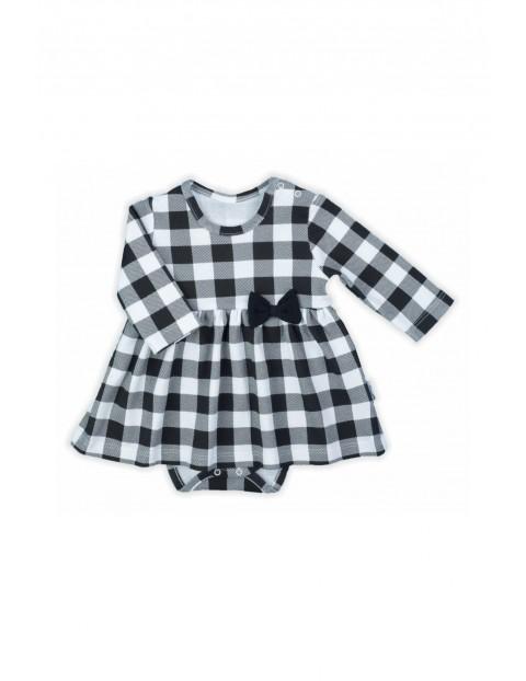 Bawełniana sukienka- body niemowlęce w kratkę