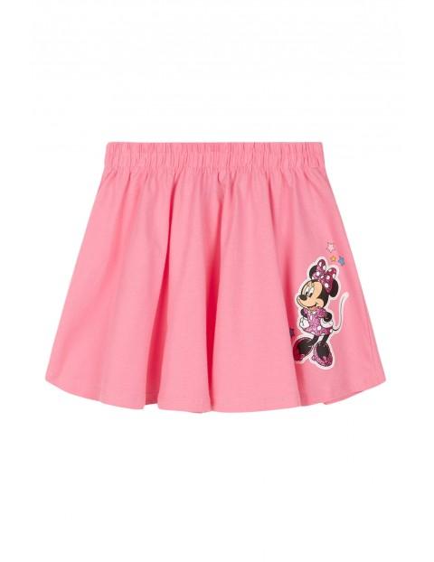 Spódniczka dziewczęca bawełniana Myszka Minnie-różowa z brokatowym nadrukiem