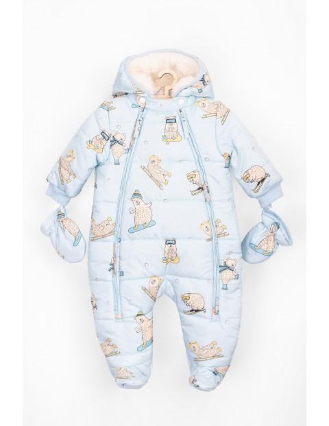 Kombinezon niemowlęcy zimowy niebieski w misie