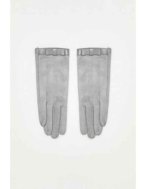 Rękawiczki z imitacji zamszu z kokardką - szare