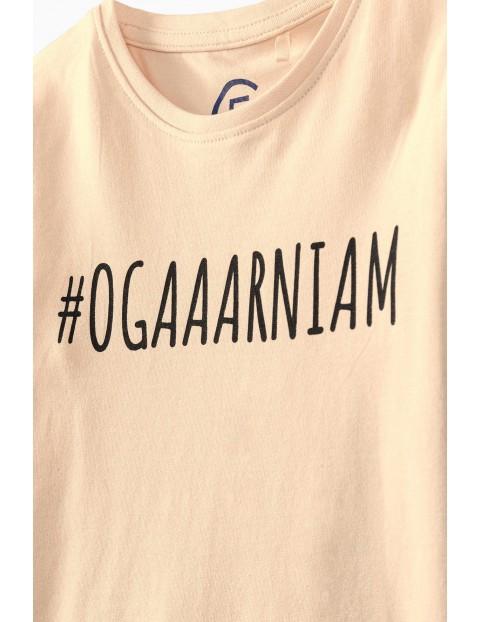 Różowy t-shirt dziewczęcy z napisem #Ogarniam