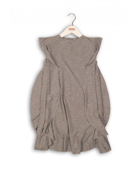 Dzianinowa sukienka dla dziewczynki - szara
