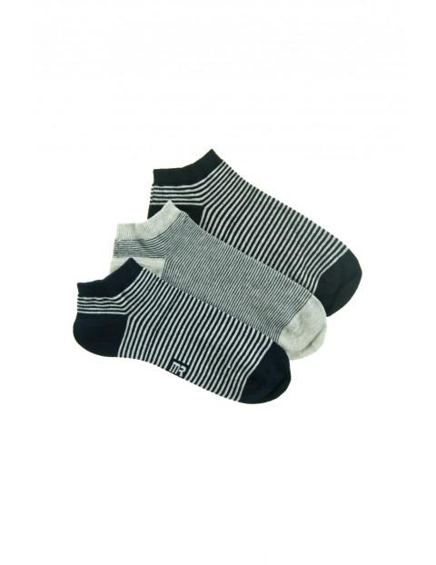 Stopki męskie w czarno-szarej kolorystyce w paski 3pak