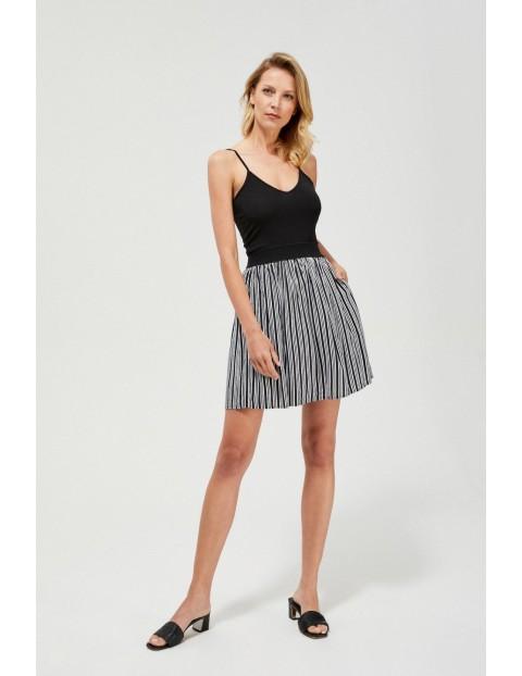 Spódnica damska mini w paski czarno-biała