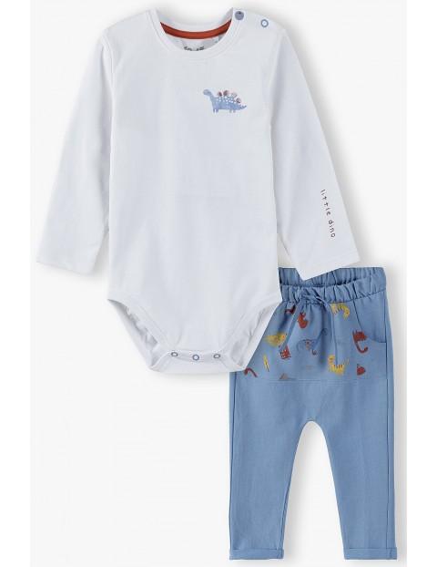 Komplet - body + dresy w dinozaury - biało-niebieski